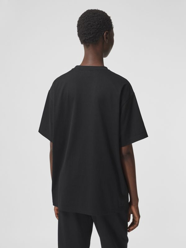 Logo Print Cotton Oversized T-shirt in Black - Women | Burberry - cell image 2