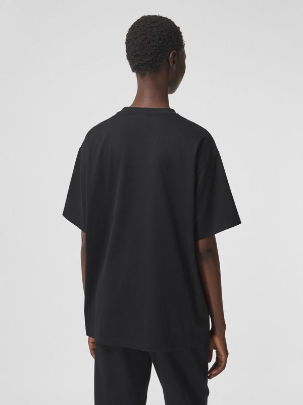 T-shirt oversize en coton avec logo (Noir) - Femme | Burberry Canada - cell image 2