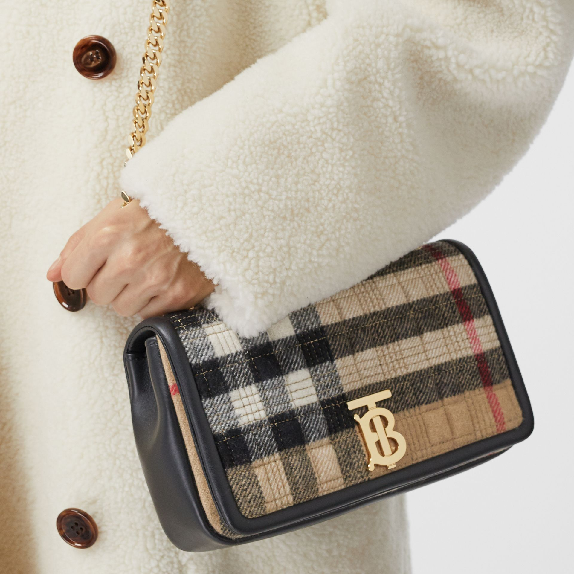 Small Check Cashmere Lola Bag in Archive Beige - Women | Burberry - gallery image 1