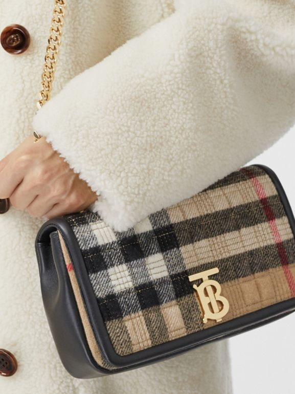 Small Check Cashmere Lola Bag in Archive Beige - Women | Burberry - cell image 1