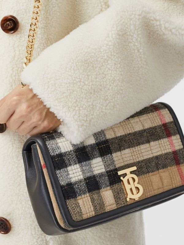 Small Check Cashmere Lola Bag in Archive Beige - Women | Burberry United States - cell image 2
