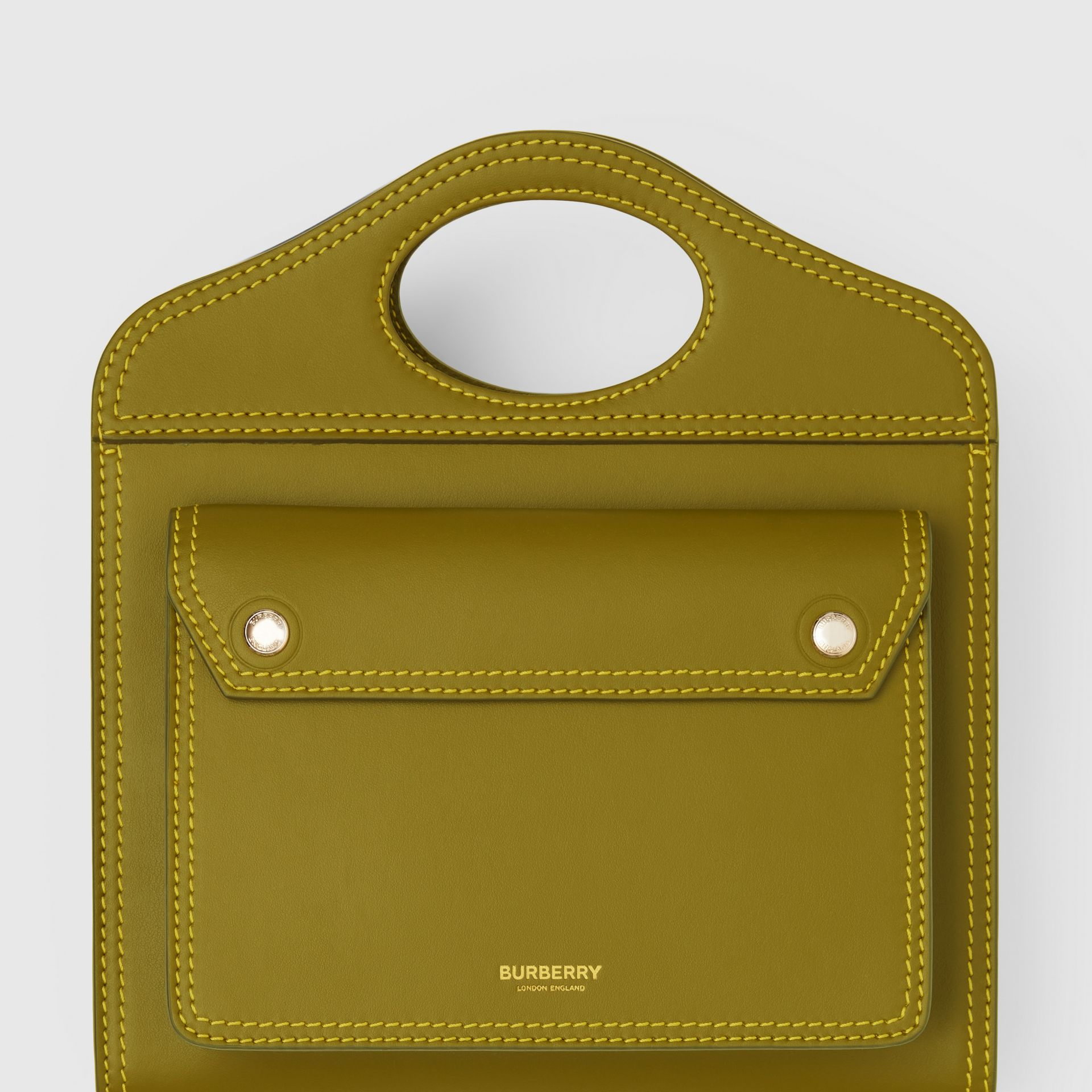 Mini Topstitched Leather Pocket Bag in Juniper Green - Women | Burberry - gallery image 1