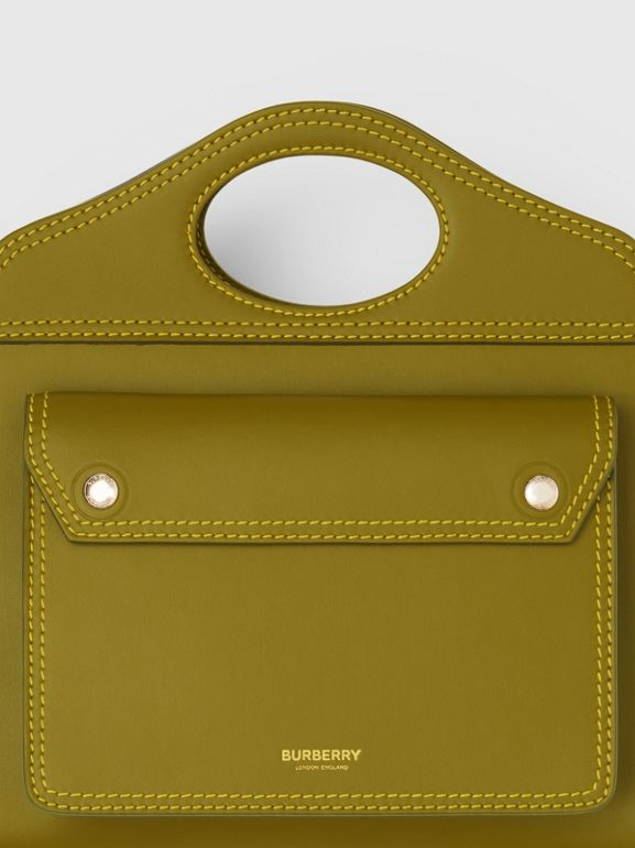 Mini Topstitched Leather Pocket Bag in Juniper Green - Women | Burberry - cell image 1