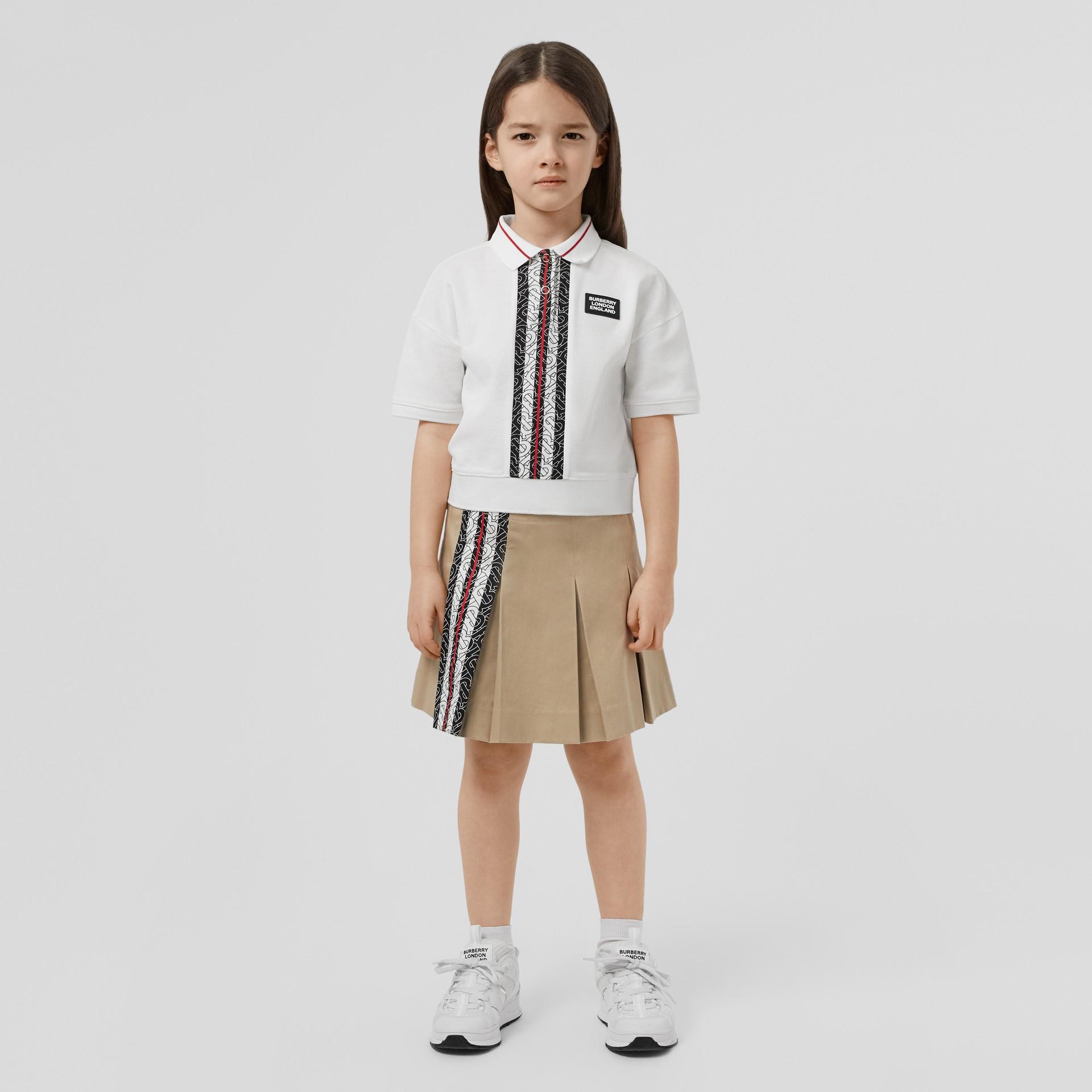 Monogram Stripe Print Cotton Piqué Polo Shirt in White | Burberry United Kingdom - gallery image 2