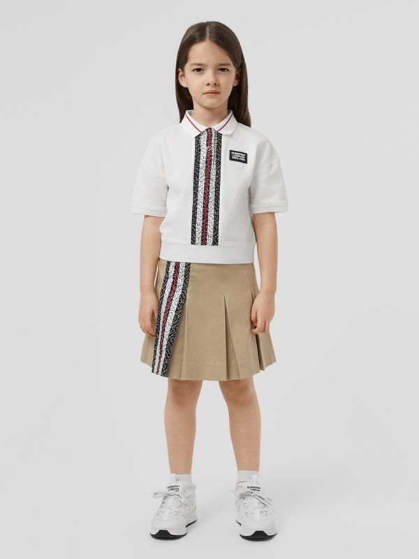 Monogram Stripe Print Cotton Piqué Polo Shirt in White | Burberry United Kingdom - cell image 2