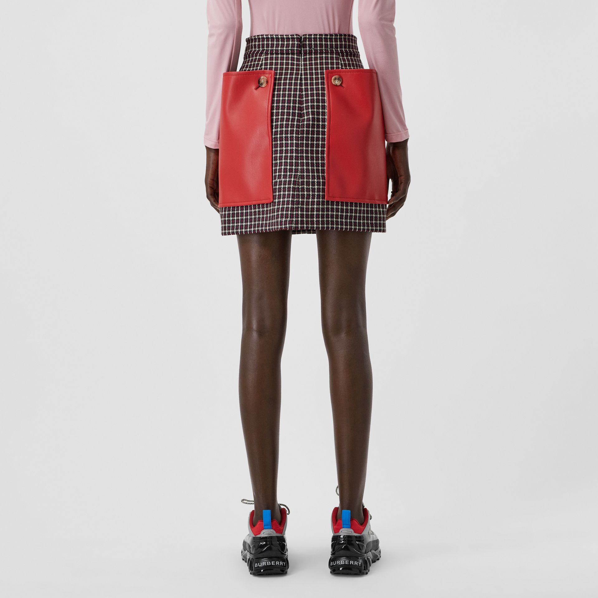 Pocket Detail Tartan Wool Mini Skirt in Bordeaux - Women | Burberry - gallery image 2