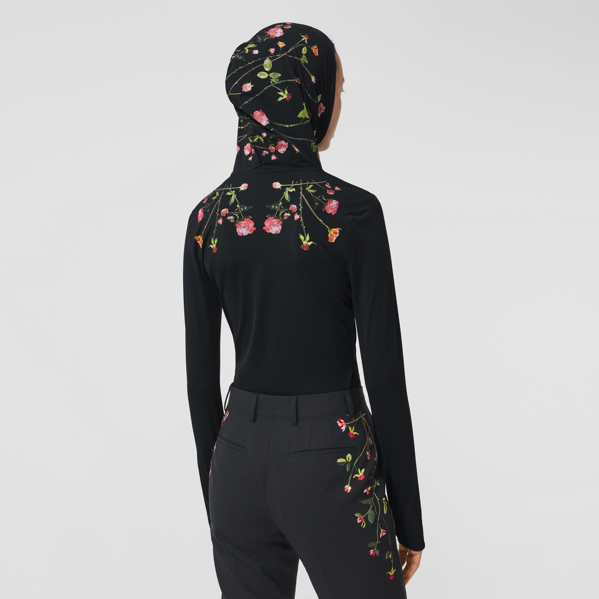 Rose Print Stretch Jersey Hooded Top in Black - Women | Burberry - gallery image 2
