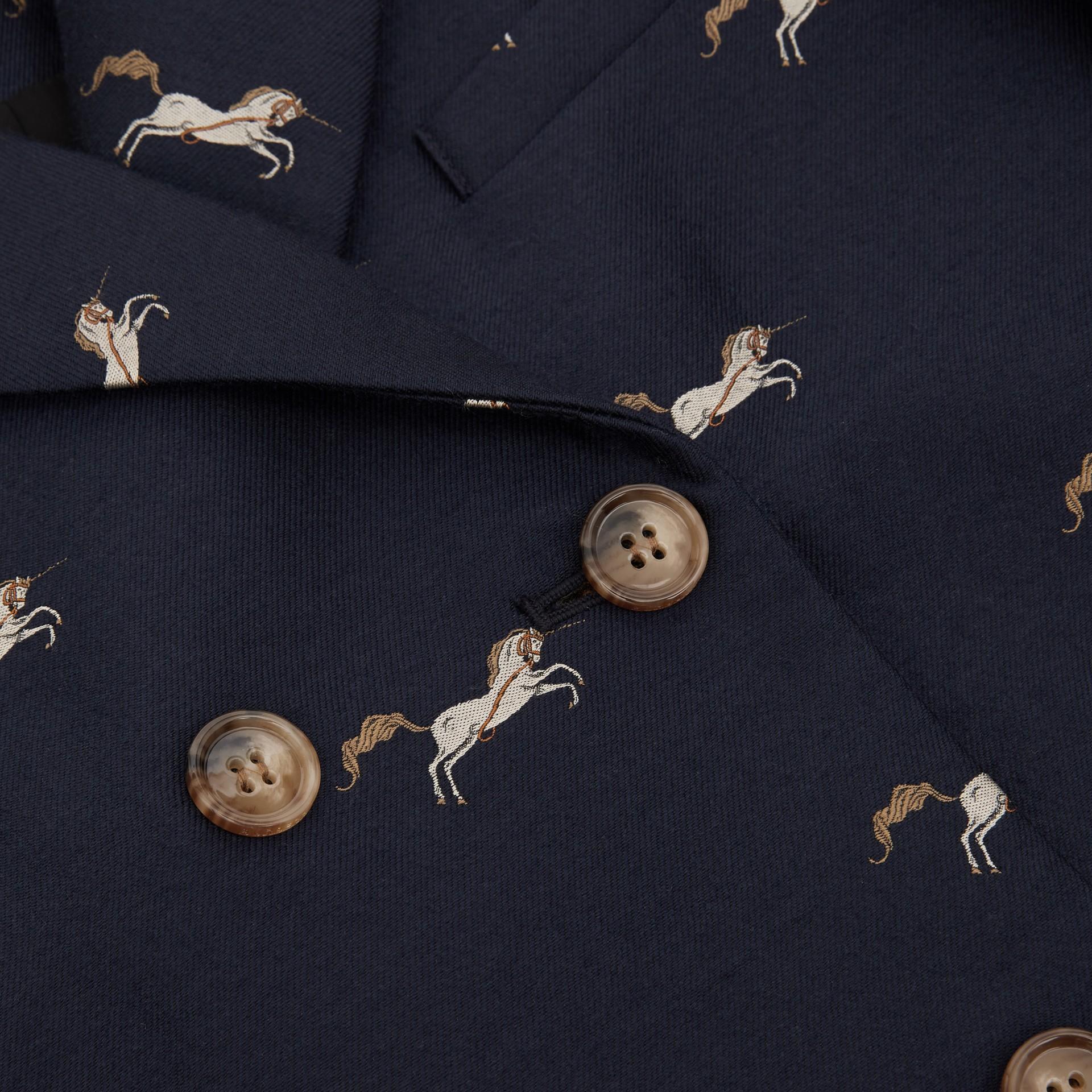Unicorn Wool Silk Jacquard Tailored Coat in Navy   Burberry United Kingdom - gallery image 1