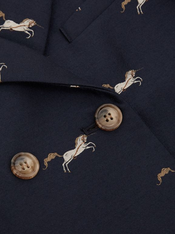 Unicorn Wool Silk Jacquard Tailored Coat in Navy   Burberry United Kingdom - cell image 1