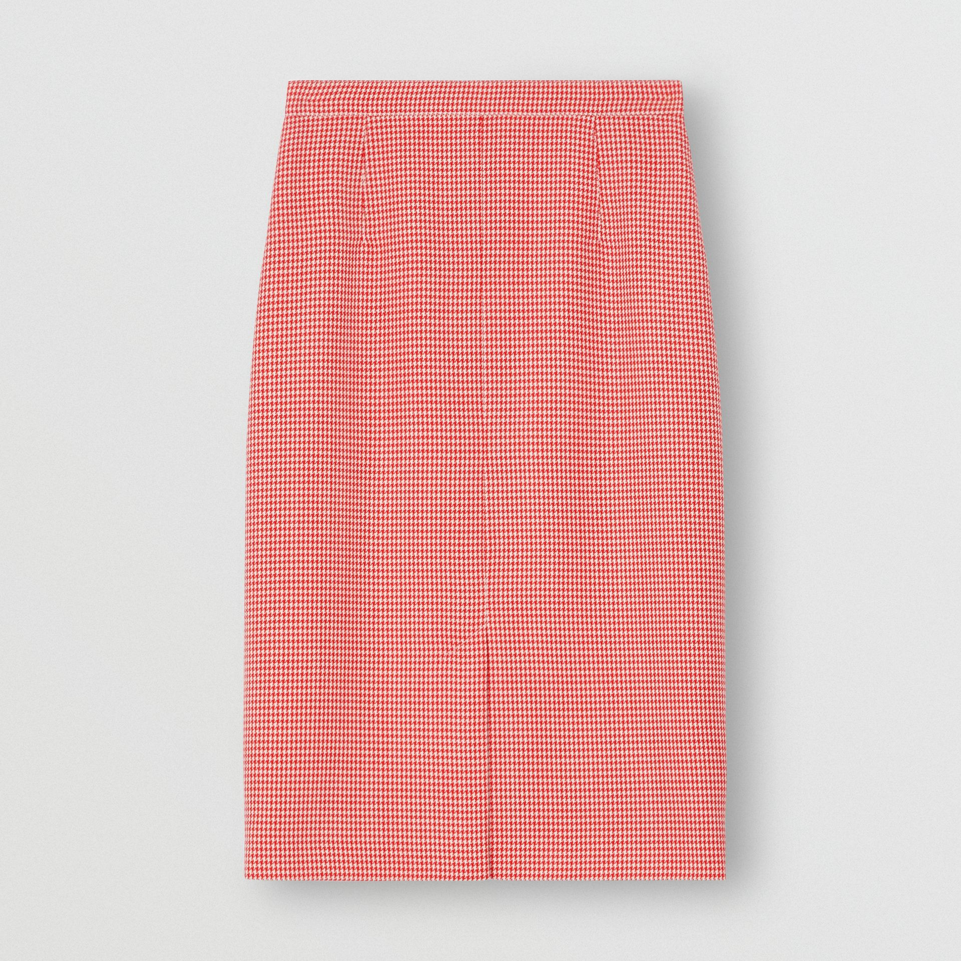 Two-tone Houndstooth Check Wool Pencil Skirt in Bright Red - Women | Burberry United Kingdom - gallery image 3