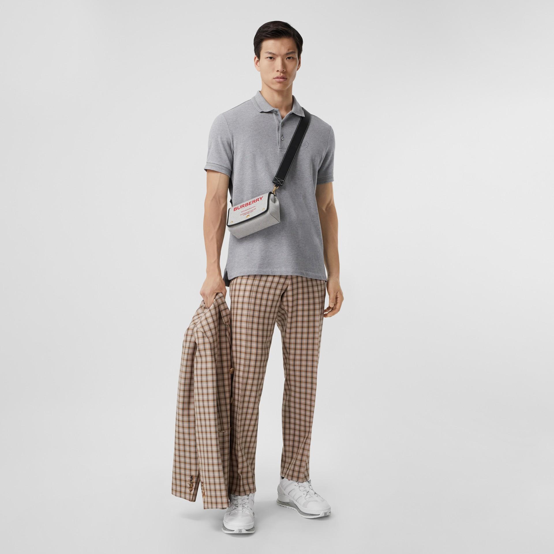 Button Detail Cotton Piqué Polo Shirt in Pale Grey Melange - Men | Burberry - gallery image 4