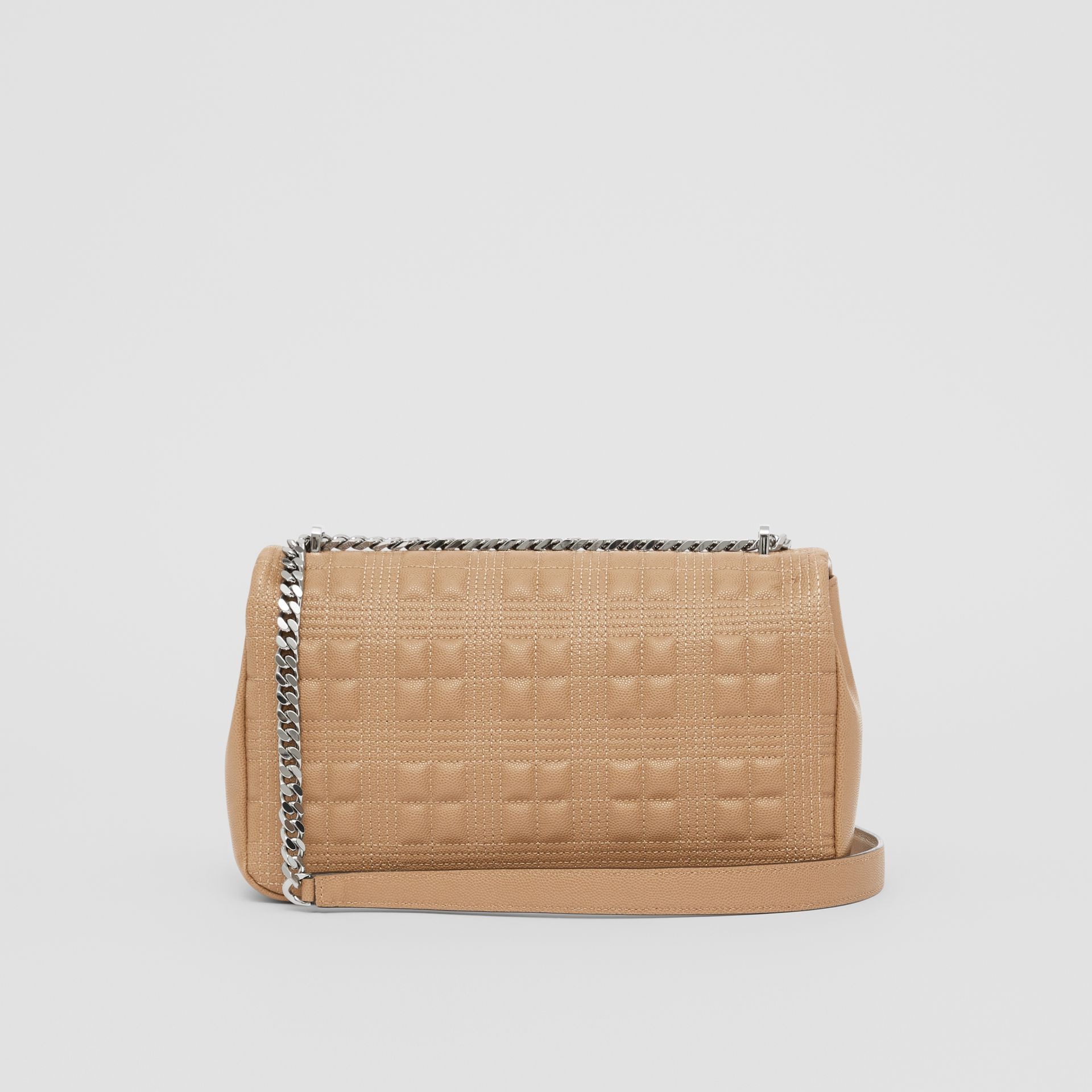 Medium Quilted Grainy Leather Lola Bag in Camel/palladium - Women | Burberry Canada - gallery image 7