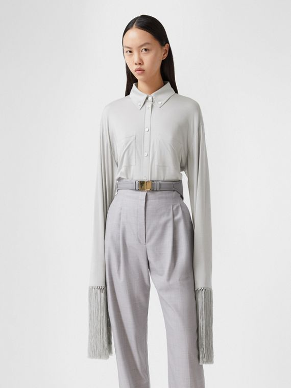 Fringed Silk Wool Jersey Shirt in Grey Melange