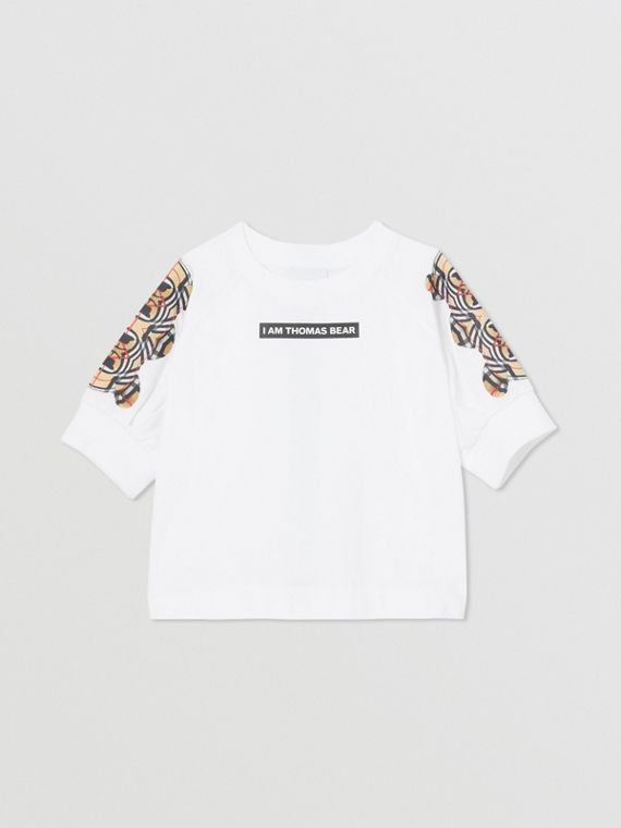 Montage Print Cotton Top in White