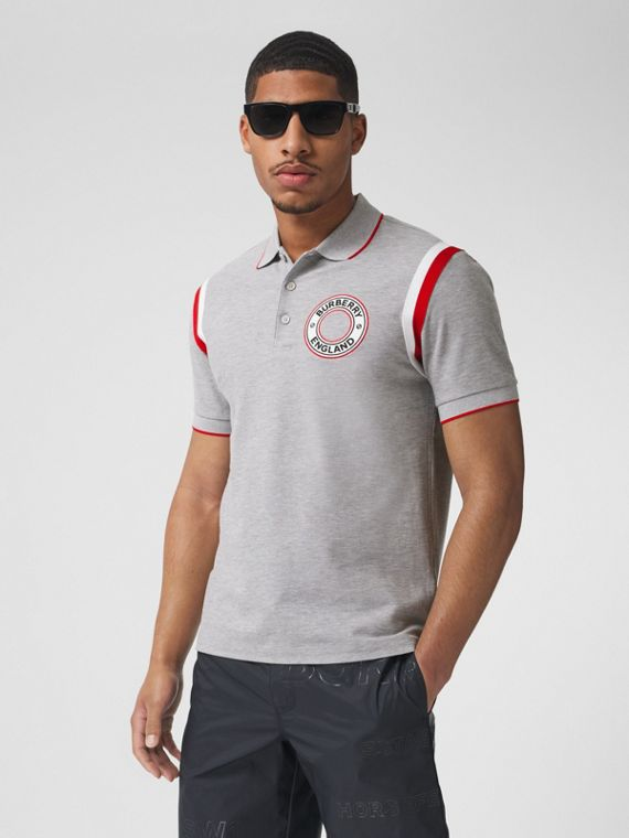 Logo Graphic Appliqué Cotton Piqué Polo Shirt in Pale Grey Melange