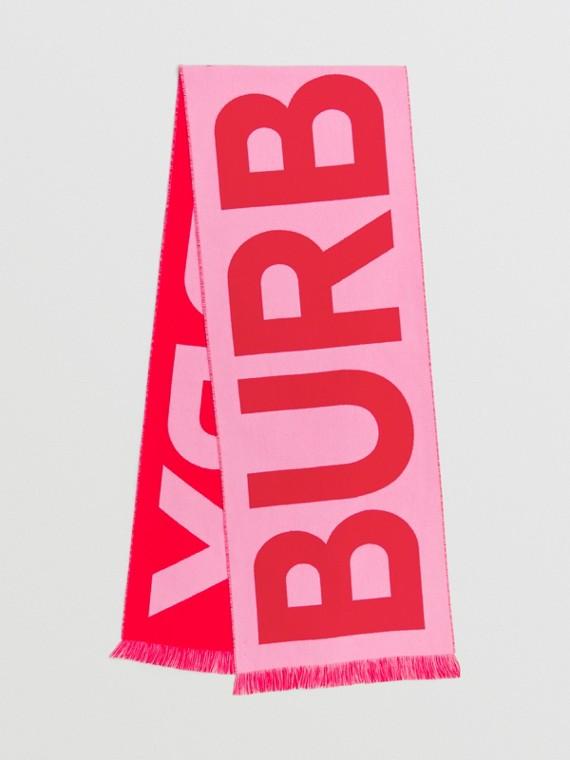 Logo Wool Jacquard Scarf in Pink/red