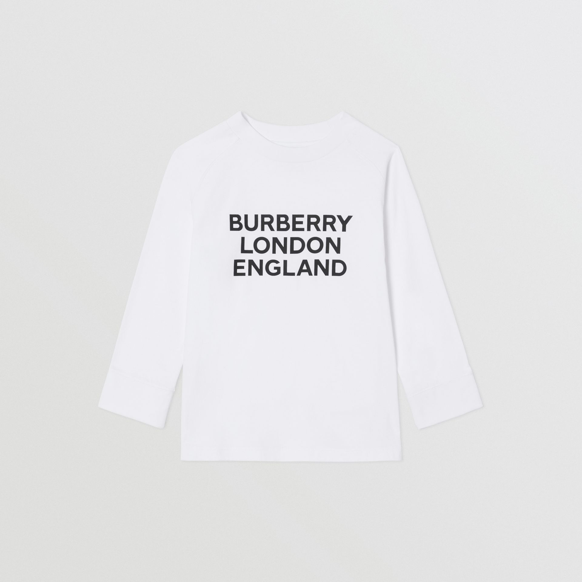 Long-sleeve Logo Print Cotton Top in White | Burberry United Kingdom - gallery image 0