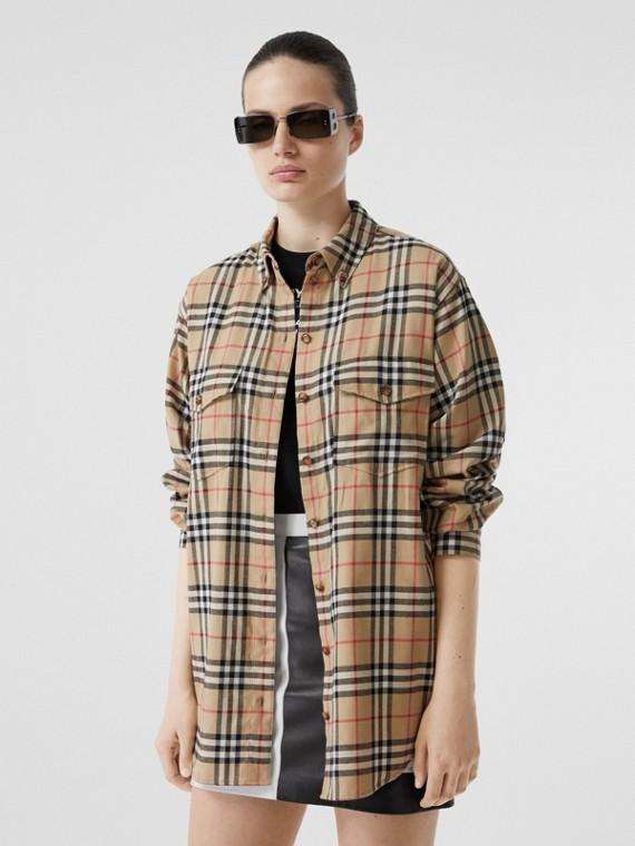 Camicia oversize in flanella di cotone con motivo Vintage check (Beige Archivio)