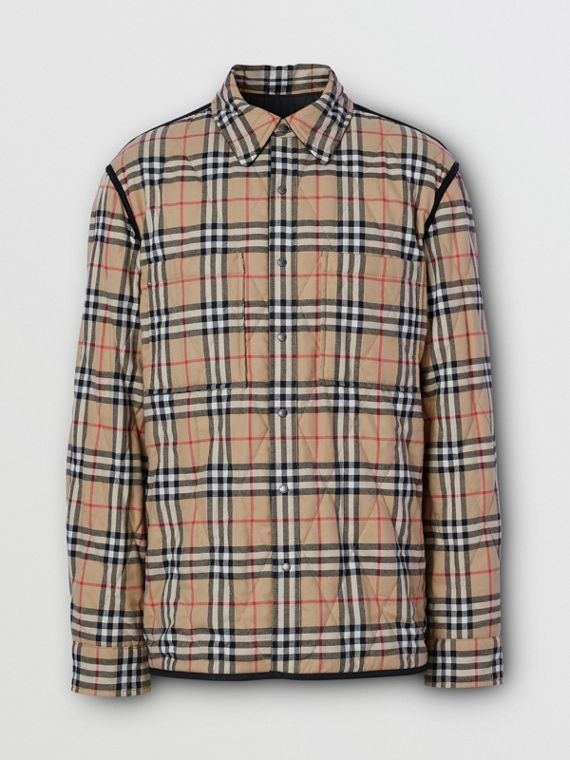 Reversible Quilted Vintage Check Cotton Overshirt