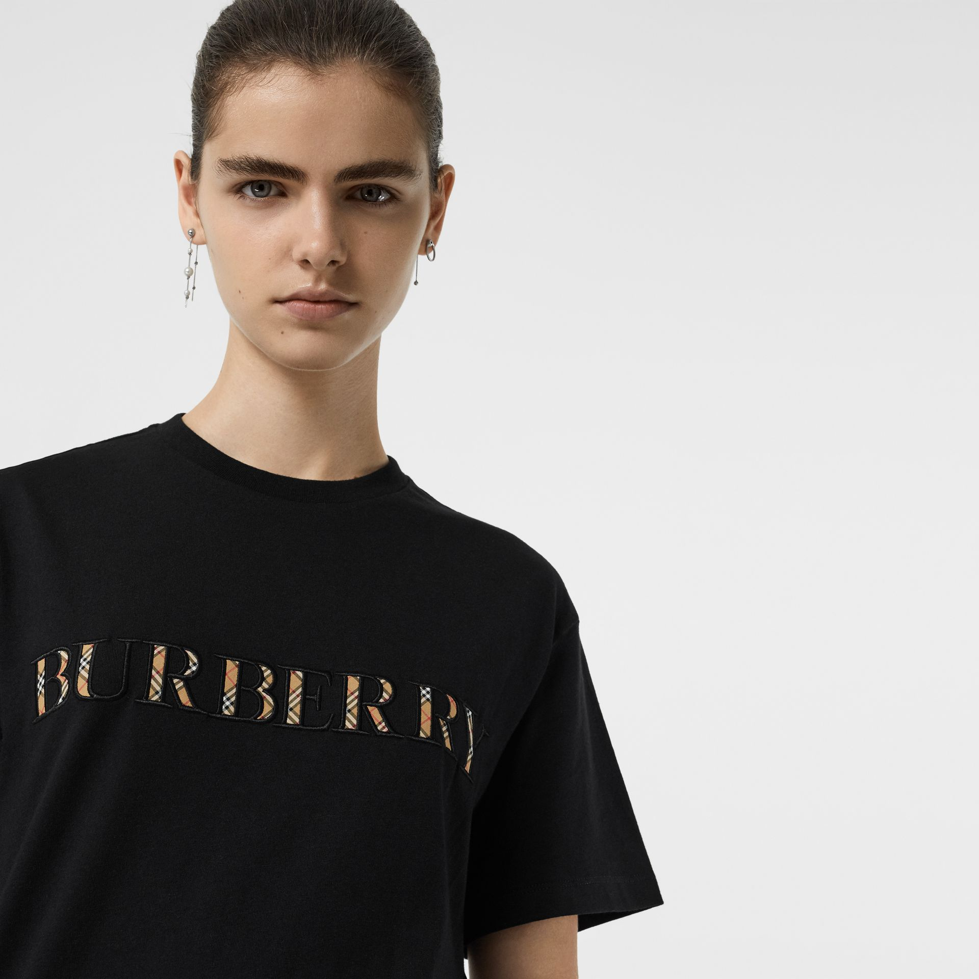 Embroidered Check Logo Cotton T-shirt in Black - Women | Burberry - gallery image 1