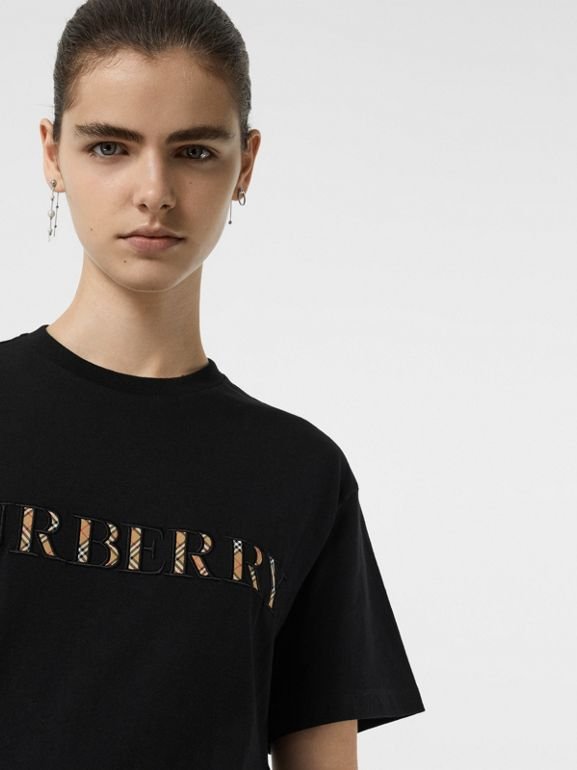 Embroidered Check Logo Cotton T-shirt in Black - Women | Burberry - cell image 1