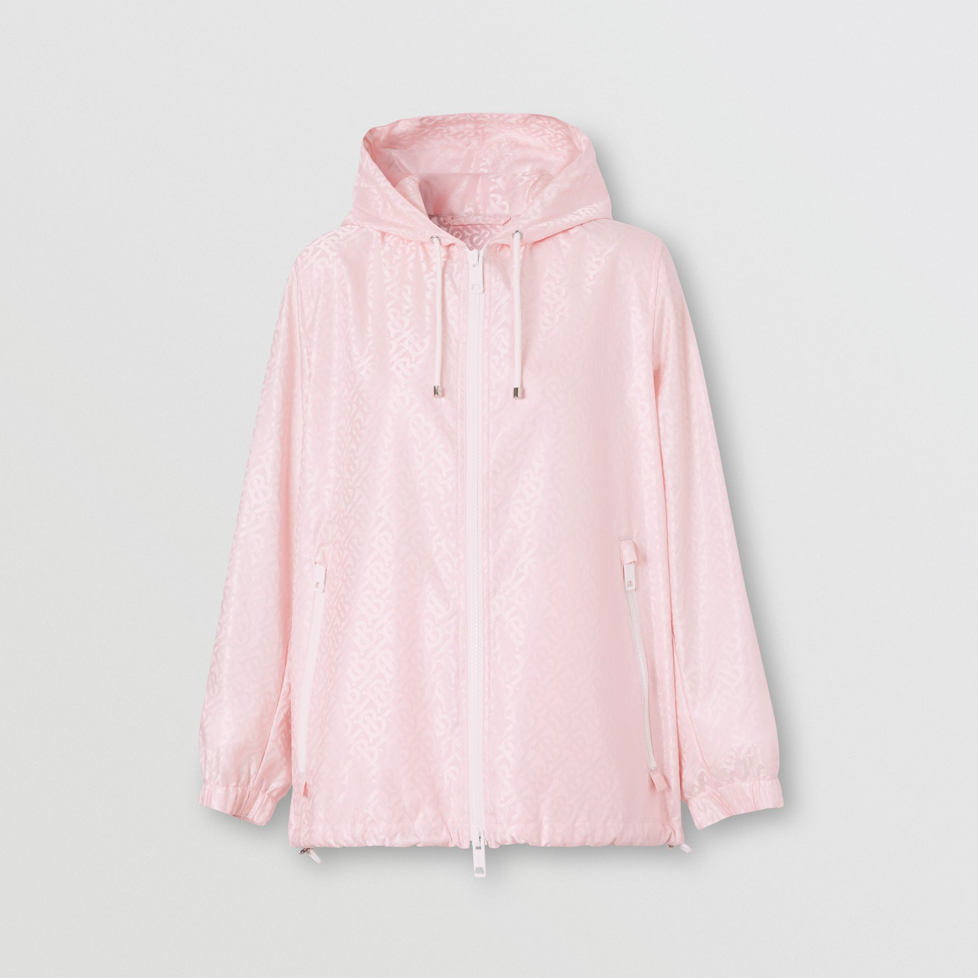 Monogram ECONYL® Jacquard Hooded Jacket in Cloud Pink - Women | Burberry - gallery image 0
