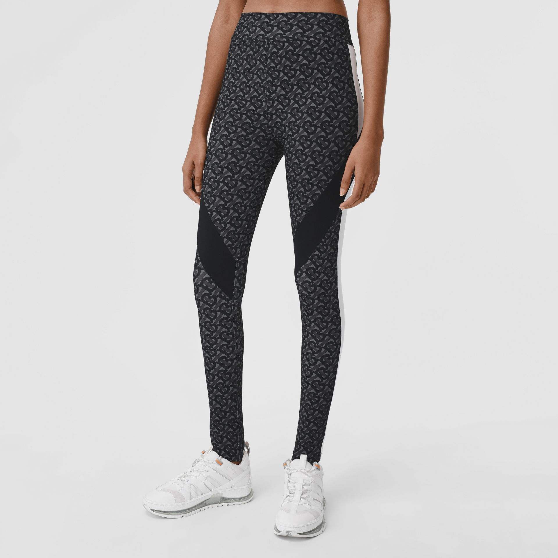 Colour Block Monogram Print Stretch Jersey Leggings in Graphite - Women | Burberry - gallery image 4