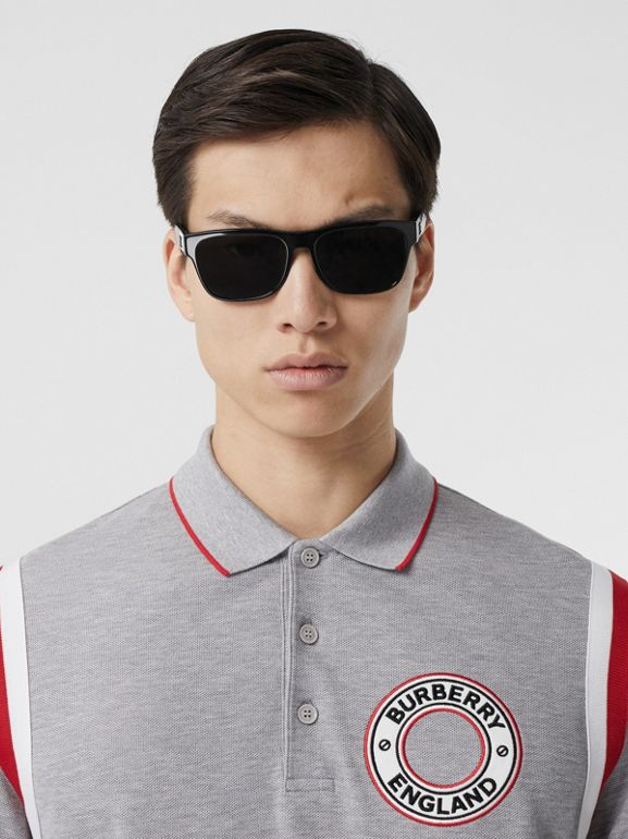Long-sleeve Logo Graphic Appliqué Cotton Polo Shirt in Pale Grey Melange - Men | Burberry - cell image 1