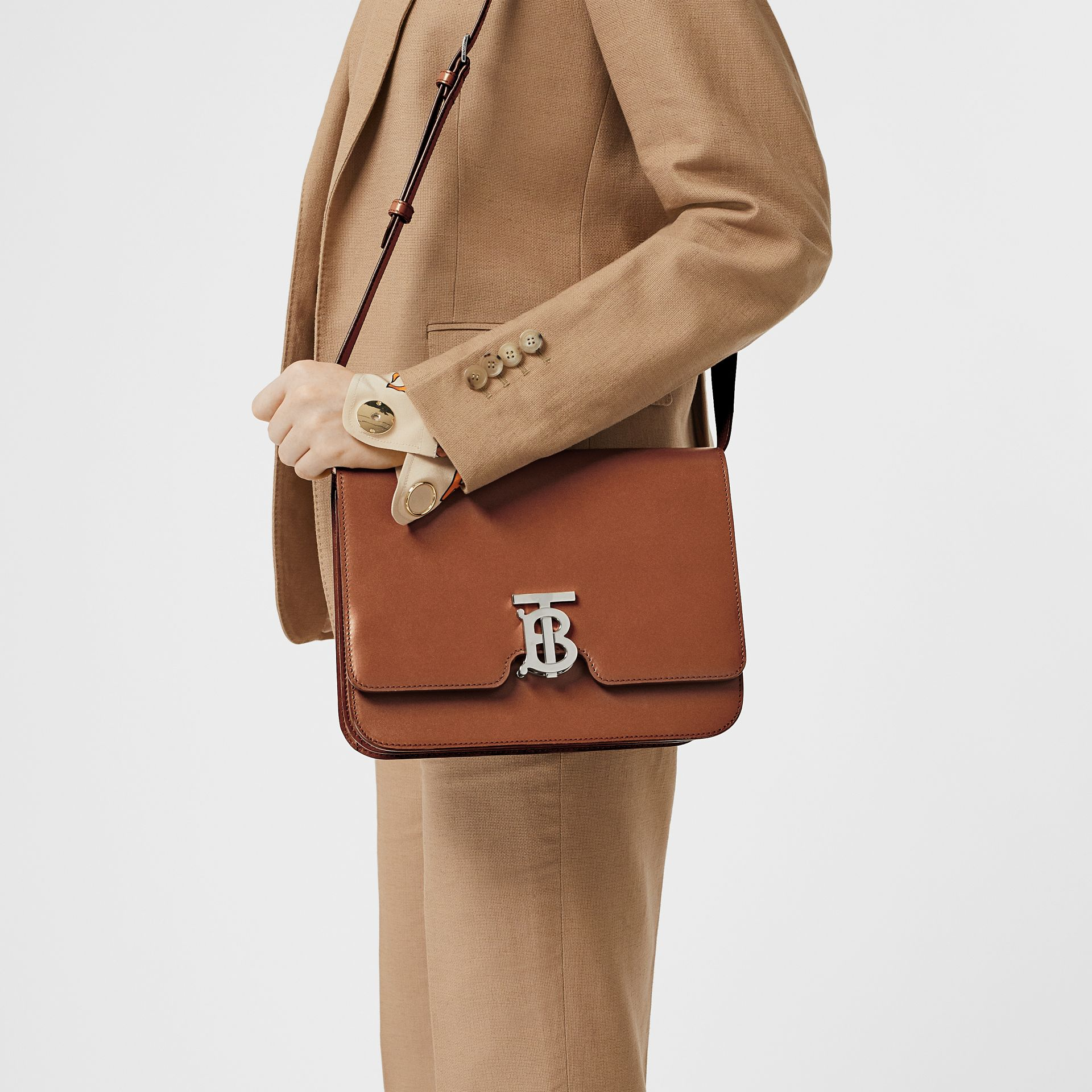 Medium Leather TB Bag in Malt Brown - Women | Burberry - gallery image 2