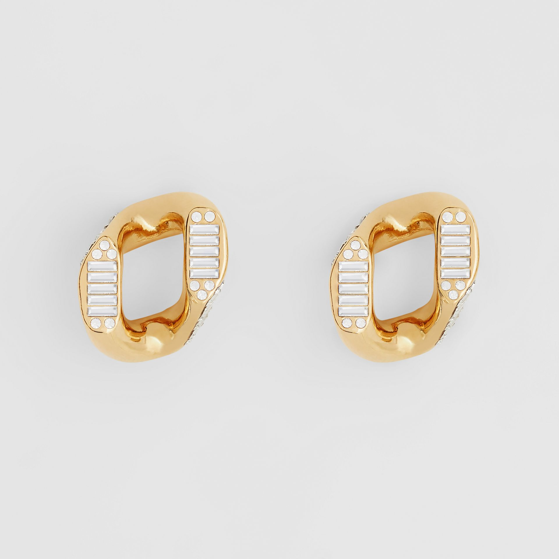 Crystal Gold-plated Chain-link Earrings – Online Exclusive - Women | Burberry Hong Kong S.A.R. - gallery image 0