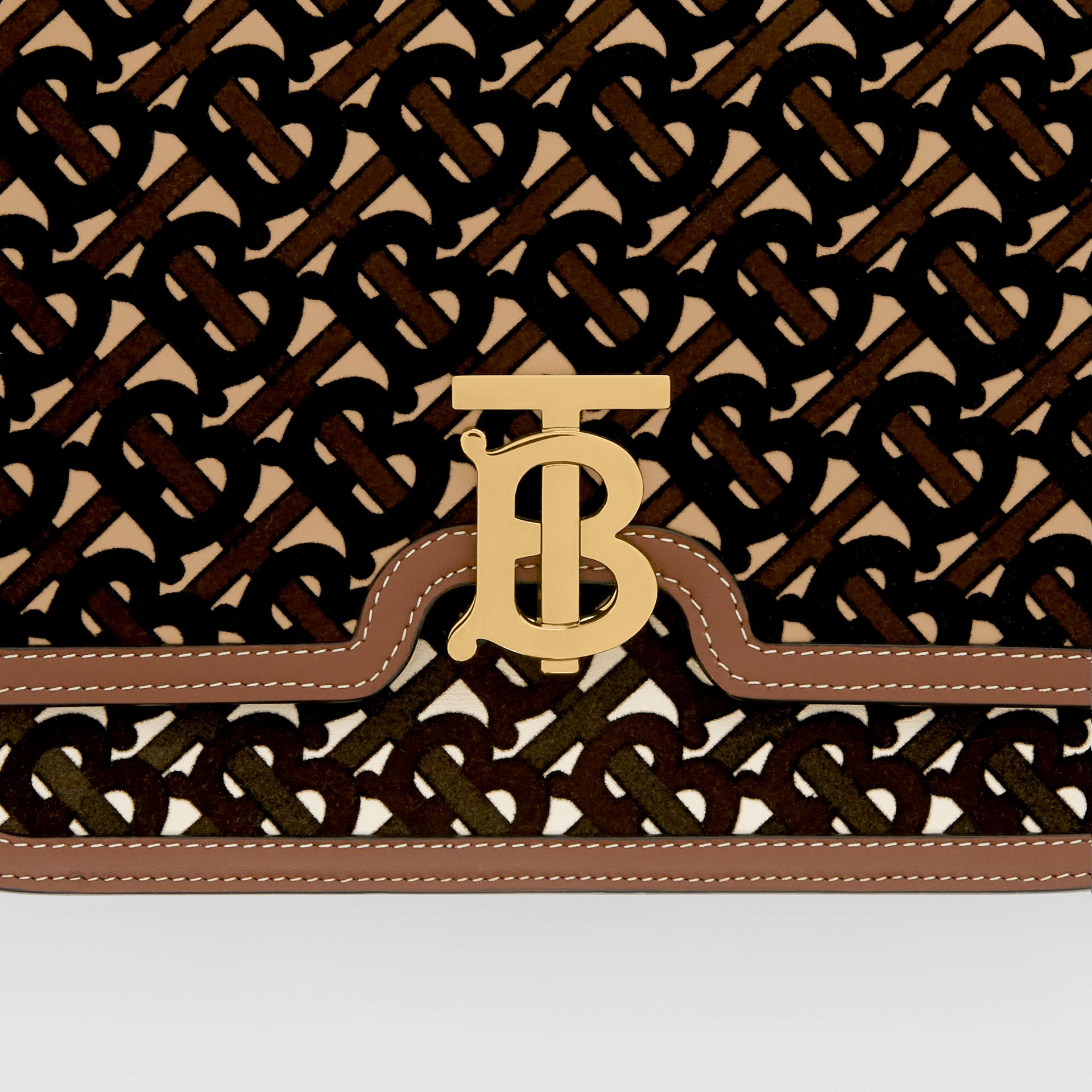 Medium Monogram Flocked Leather TB Bag in Dark Brown - Women | Burberry Canada - gallery image 1