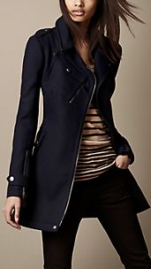 Short Technical Wool Trench Coat