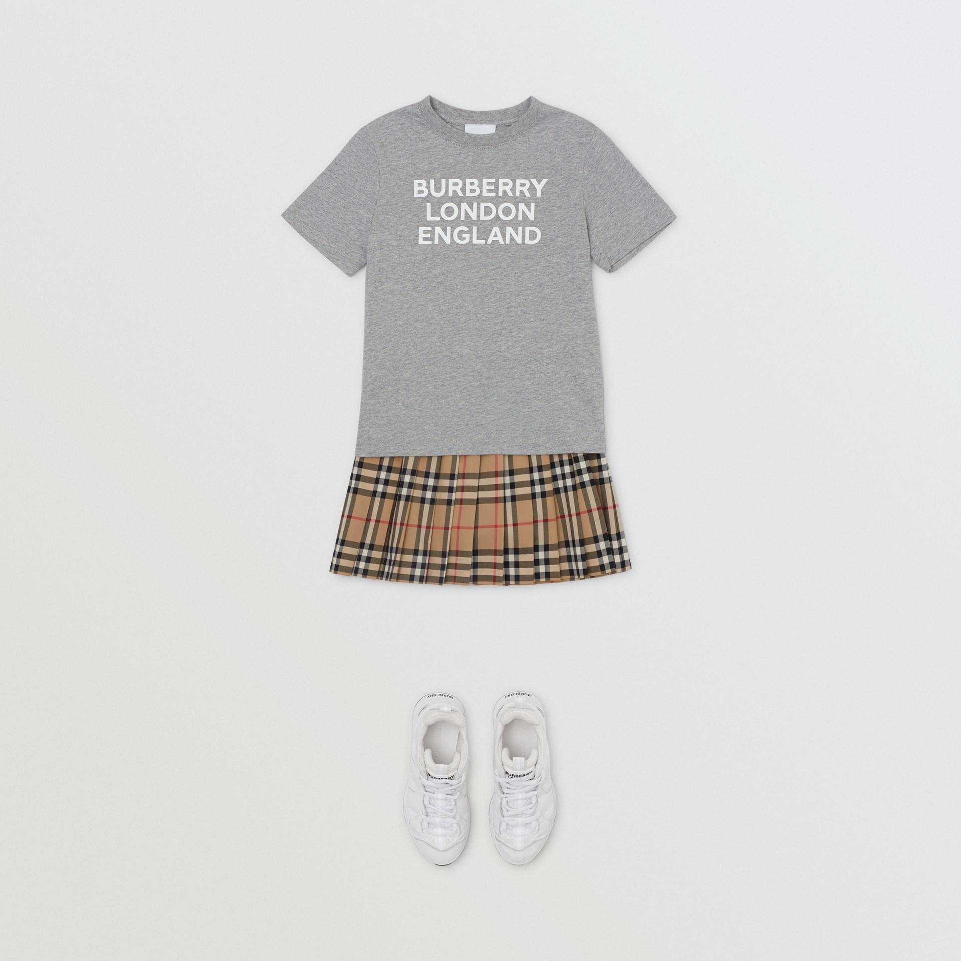Logo Print Cotton T-shirt in Grey Melange   Burberry - gallery image 2
