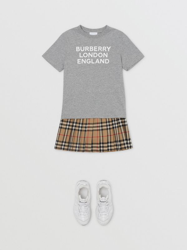 Logo Print Cotton T-shirt in Grey Melange   Burberry - cell image 2