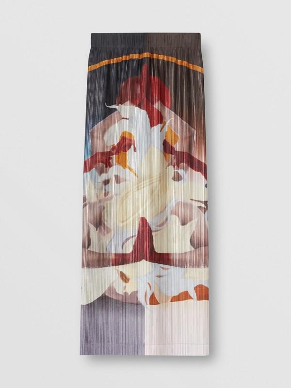 Saia plissé de cetim com estampa de meditação (Multicolorido) - Mulheres | Burberry - cell image 3