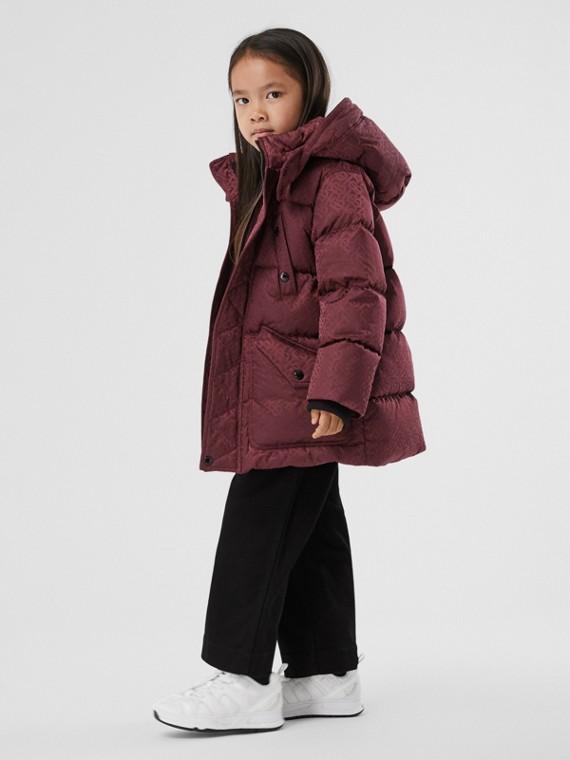 Wattierter Mantel mit Jacquard-gewebtem Monogrammmuster und abnehmbarer Kapuze