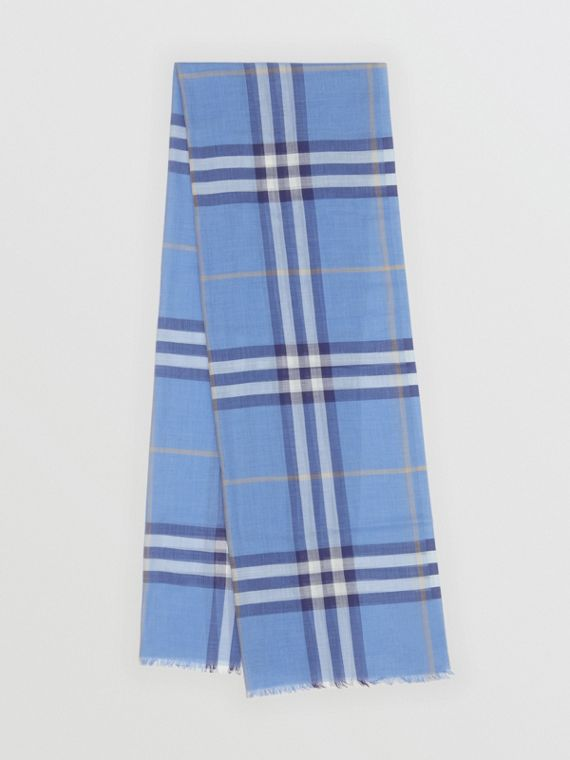 Lightweight Check Wool Silk Scarf in English Bluebell