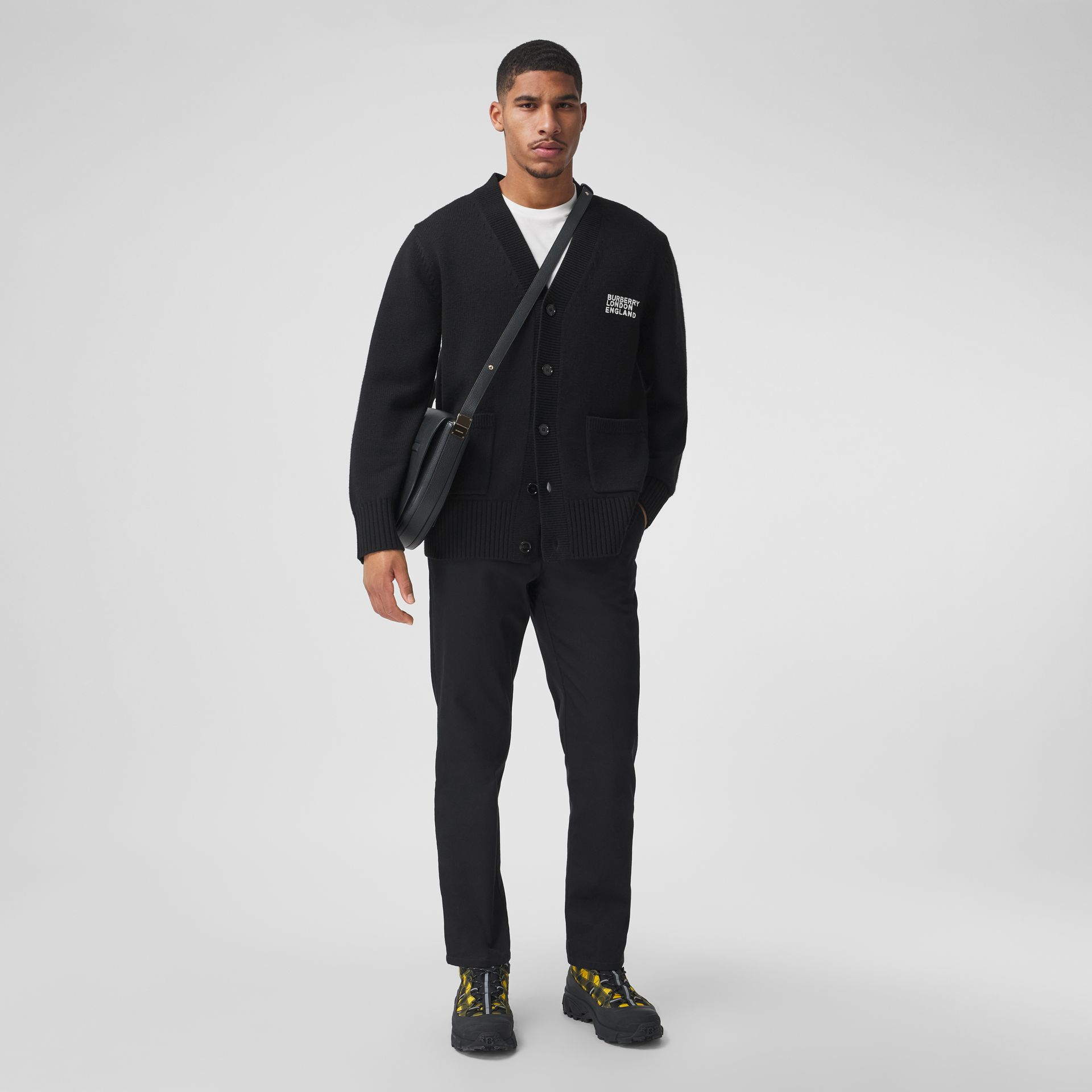 Love Motif Merino Wool Oversized Cardigan in Black - Men | Burberry - gallery image 2