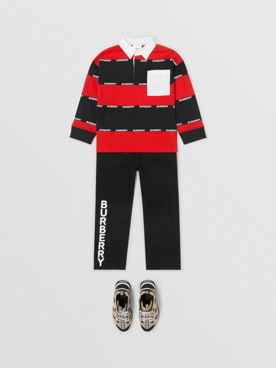 Camisa polo de algodão listrada com mangas longas e fita com logotipo (Vermelho Intenso)