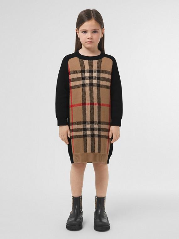 Robe pull en jacquard de laine et cachemire check (Beige D'archive)