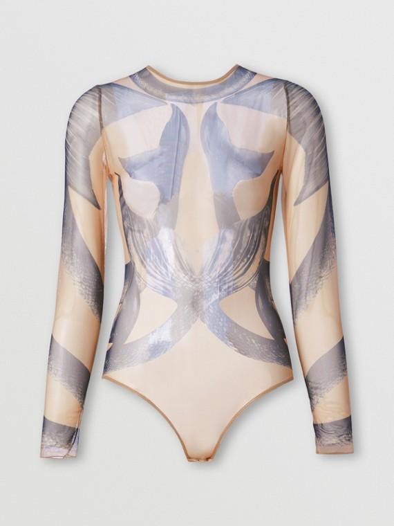 Mermaid Tail Print Tulle Bodysuit in Midnight Navy
