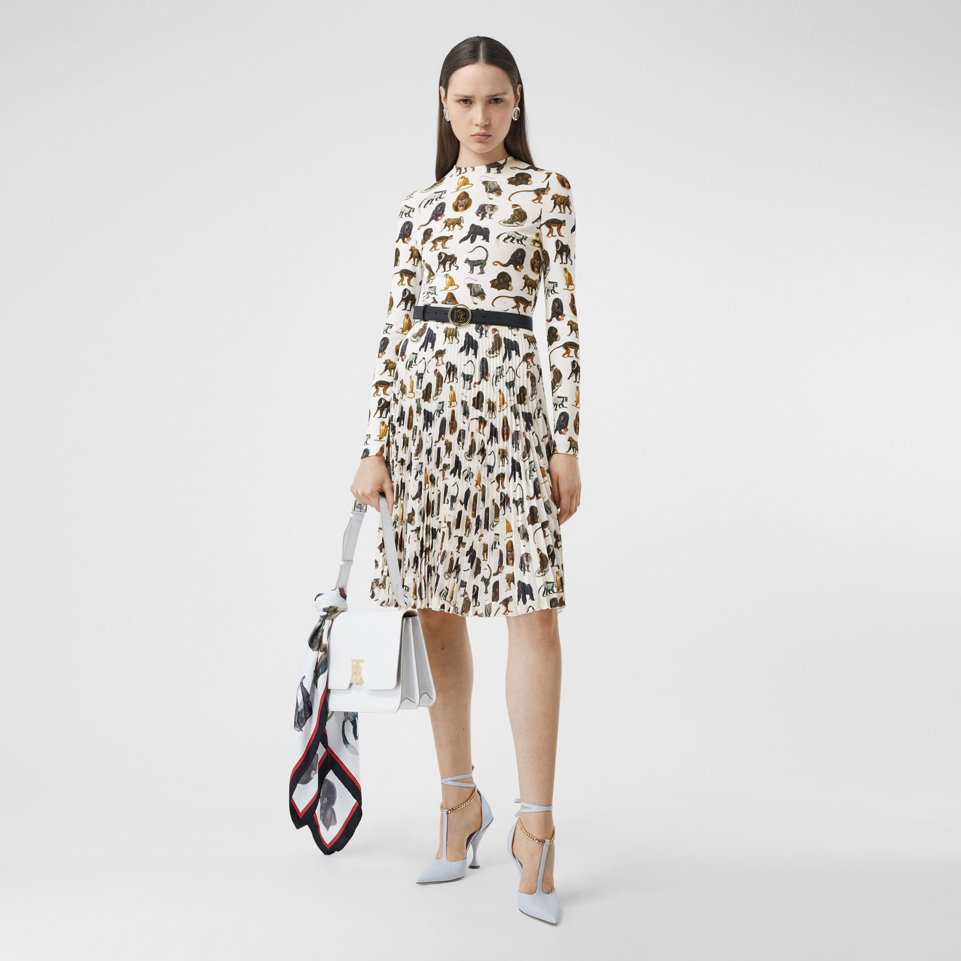 Monkey Print Crepe De Chine Pleated Skirt in White | Burberry United Kingdom - gallery image 0
