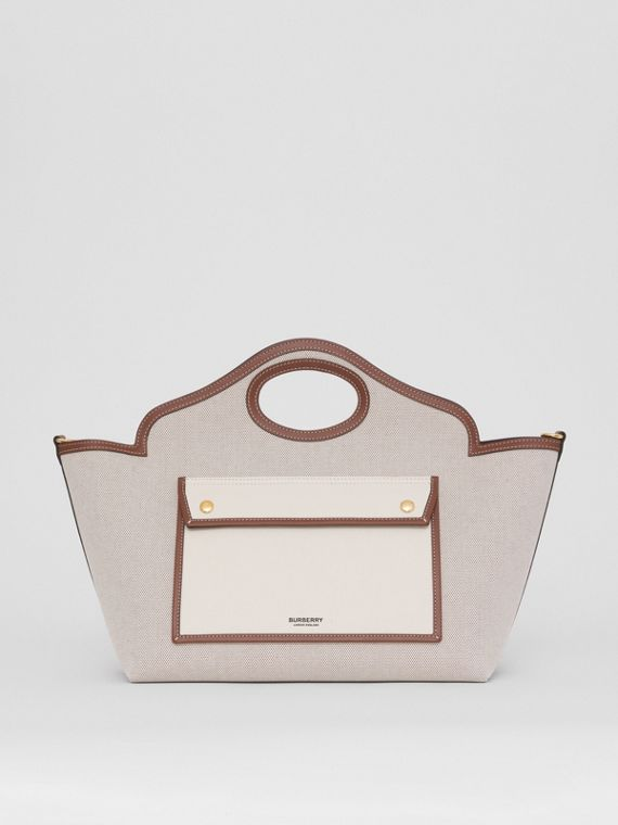Small Two-tone Canvas and Leather Soft Pocket Tote in Fawn/ecru