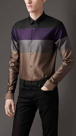 Slim Fit Block Stripe Cotton Shirt