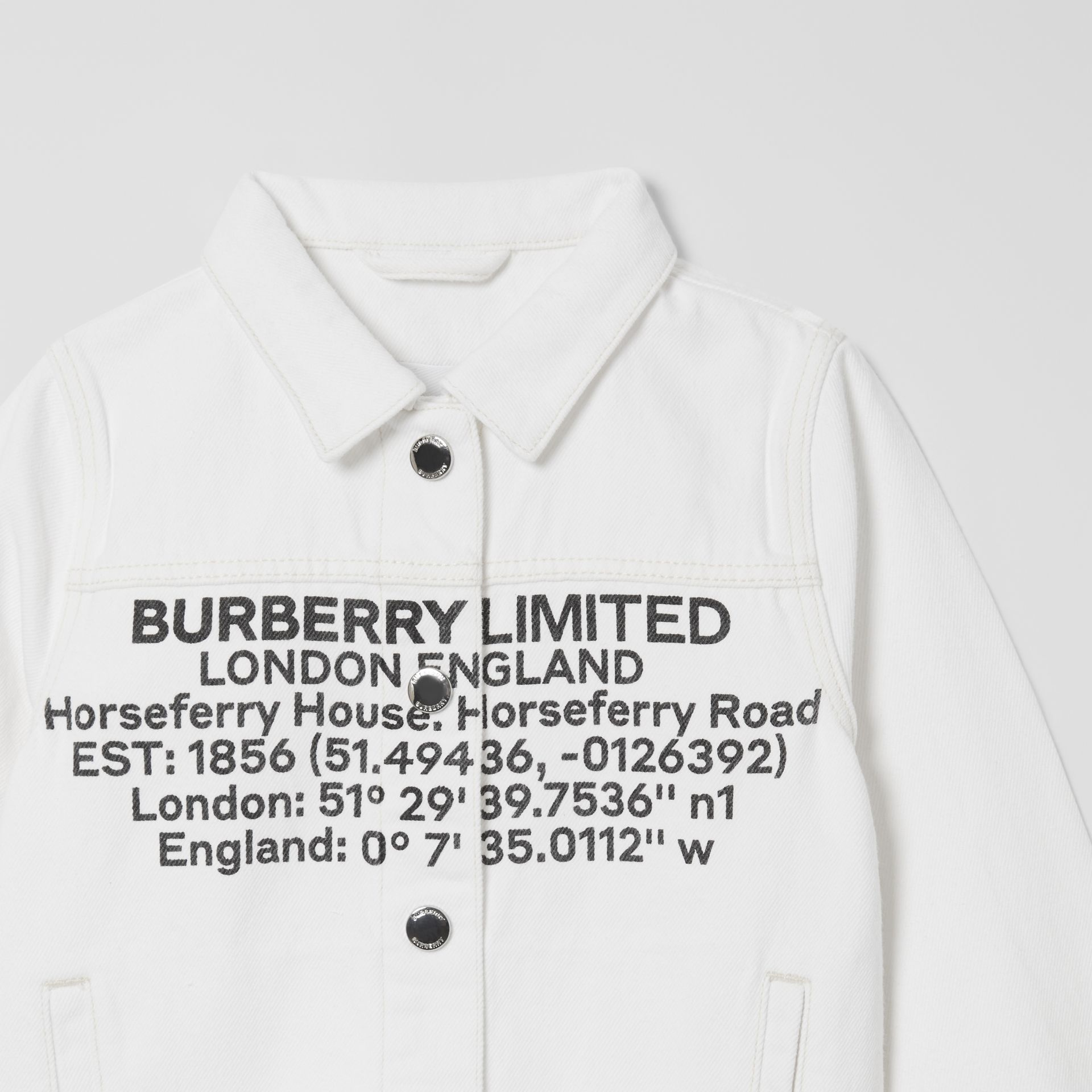Location Print Japanese Denim Jacket in Natural White | Burberry - gallery image 4