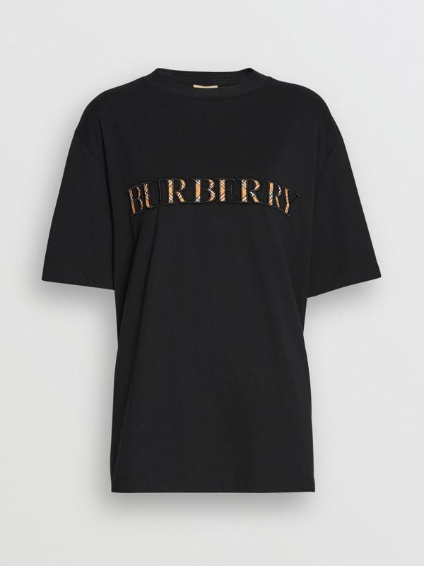 Embroidered Check Logo Cotton T-shirt in Black - Women | Burberry - cell image 3