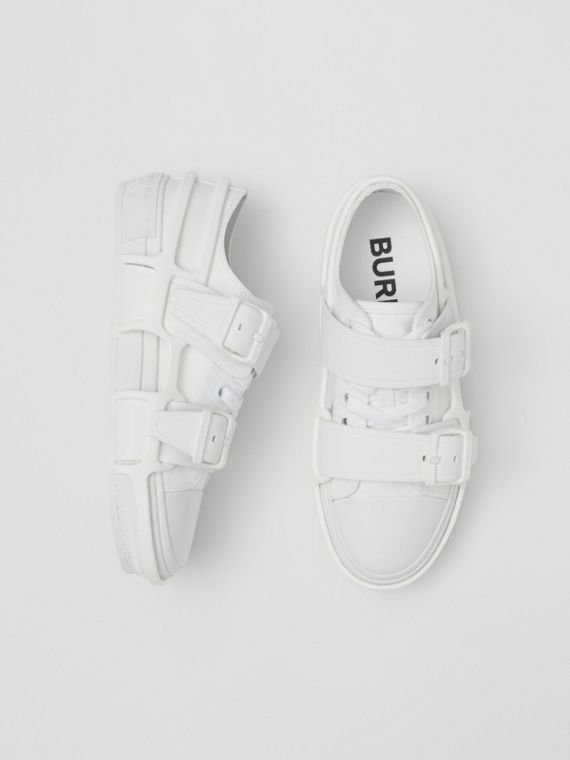 Cotton and Leather Webb Sneakers in White