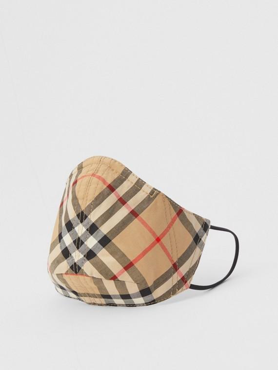 Schutzmaske aus Baumwolle im Vintage Check-Design (Hellblau)