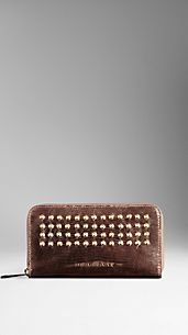 Studded Metallic Lizard Ziparound Wallet