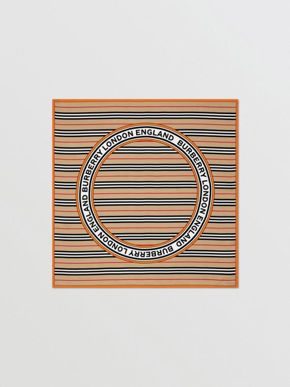 Icon Stripe and Logo Graphic Silk Square Scarf in Archive Beige